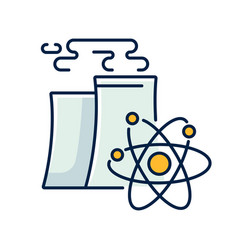 Nuclear industry rgb color icon vector