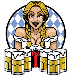 oktoberfest girl with bunch of glass of beers vector image