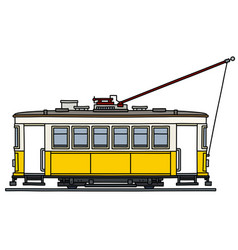 Old yellow and white tramway vector