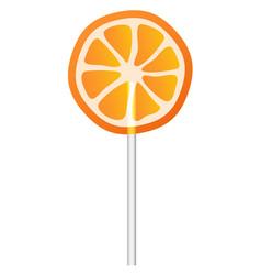 orange lollipop icon realistic style vector image