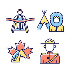 People of canada rgb color icons set vector