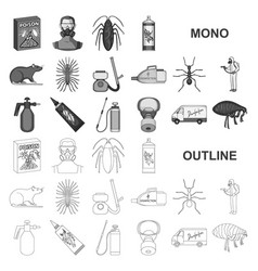 Pest poison personnel and equipment monochrom vector