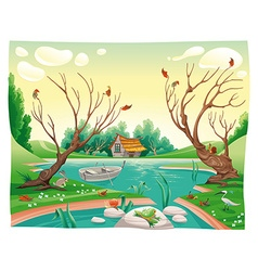 Pond and animals vector