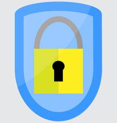 Protection padlock shield vector image
