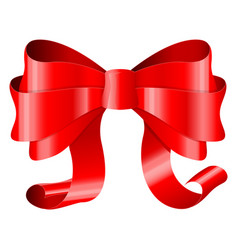 red ribbon bow 3d silky decoration vector image