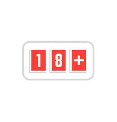 red simple 18 plus icon scoreboard vector image