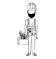 Repairman builder with toolbox avatar character vector
