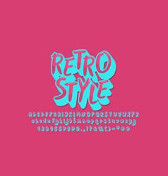 Retro style alphabet pink blue vintage design vector