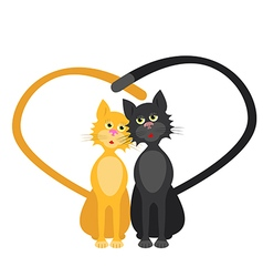 Romantic couple two loving cats vector