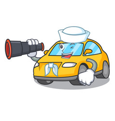 Sailor with binocular taxi character mascot style vector