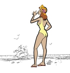 sea woman in swimsuit drinking water vector image