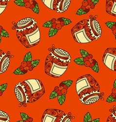 Seamless red berry pattern vector