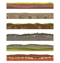 seamless various sliced soil grounds for ui game vector image