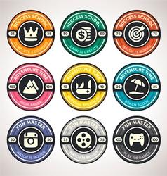 Set achievement badges flat labels coll vector