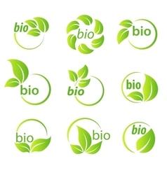 Set green leaves bio symbol design elements vector