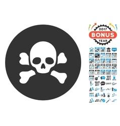 Skull Black Spot Icon with 2017 Year Bonus vector