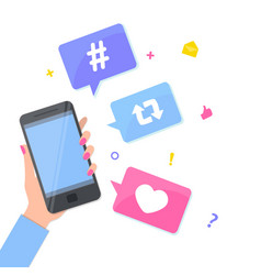 Social media concept hand with smartphone modern vector