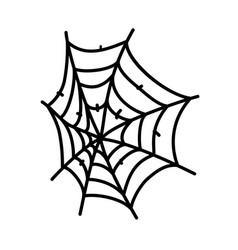 Spider web icon doodle hand drawn or black vector