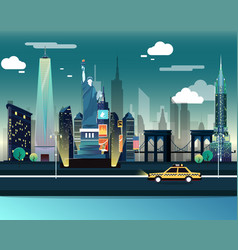 statue of liberty and landmarks of usa in the vector image