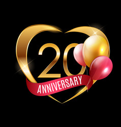 Template gold logo 20 years anniversary vector