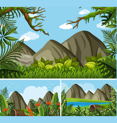 three background scenes with mountains and forest vector image