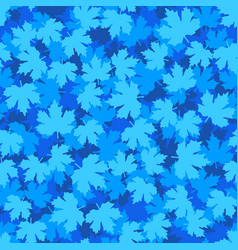 Tileable background with blue winter maple leaves vector