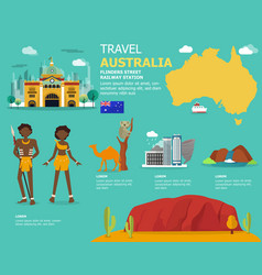 Traveling in australia with map and landmark icons vector