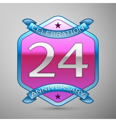 Twenty four years anniversary celebration silver vector