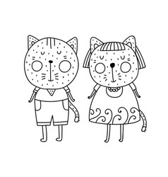 two cats boy and girl vector image