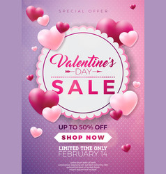 Valentines day sale design with red heart balloon vector