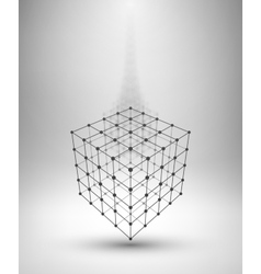 Wireframe Box Cube with connected lines and dots vector