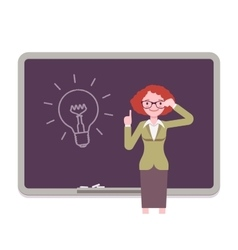 Woman against the blackboard with drawn light bulb vector image