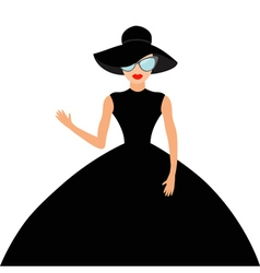 Woman in black elegant hat and big dress vector image