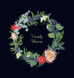 Wreath made trendy beautiful blooming floristic vector