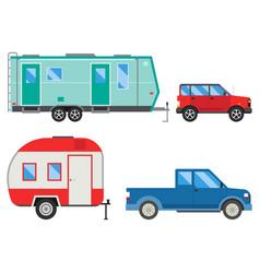 campers vacation travel car summer nature holiday vector image