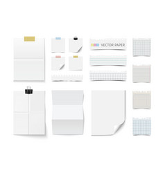 Collection of various blank white paper vector image vector image