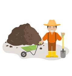 farmer or gardener with shovel and wheelbarrow vector image vector image