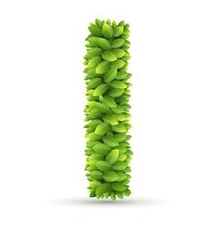 Letter I alphabet of green leaves vector image