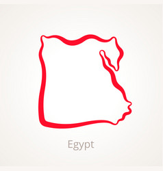 outline map of egypt marked with red line vector image vector image