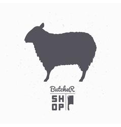 Sheep silhouette lamb meat butcher shop logo vector