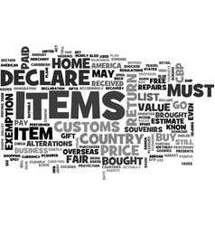 what you must declare when you return to america vector image vector image