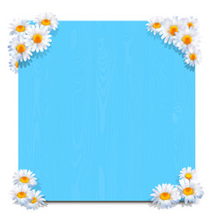 blue wooden board with camomiles vector image vector image