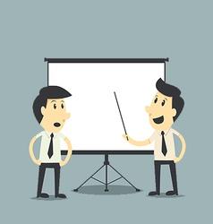 businessman presenting blank board vector image vector image