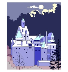 Castle at night vector