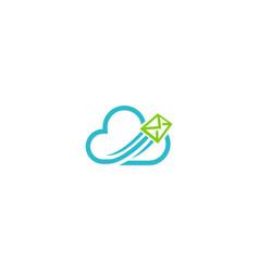 cloud mail media technology logo vector image