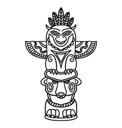 Doodle Traditional Tribal Totem Pole isolated on vector image vector image