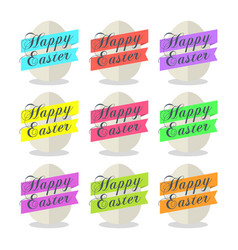 egg with ribbon and text happy easter set vector image