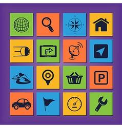 GPS navigation icons vector image vector image