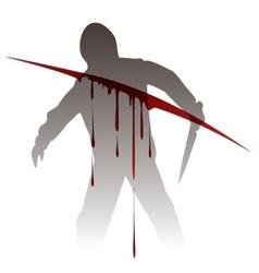 Killer silhouette against blood splashes vector image vector image