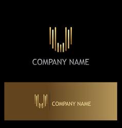 line letter u gold logo vector image